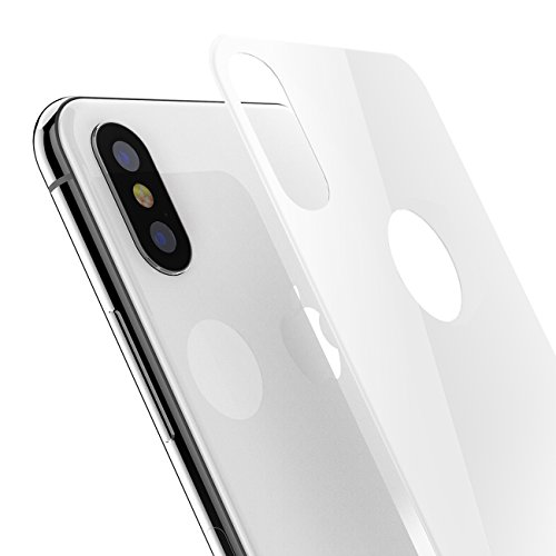 White Back Case - iPhone X Back Screen Protector, Kolpop 3D Full Coverage iPhone X Tempered Glass Back Protector, Anti-Fingerprint Case Friendly Anti-Scrath Slim Back Glass Protector Film for iPhone X/iPhone 10(White)