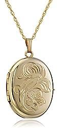 """14k Gold-Filled Engraved Flower 4-Picture Oval Locket, 20"""""""