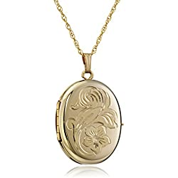 Yellow Gold Engraved Oval Picture Locket