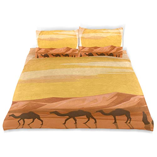- OSBLI Bedding Duvet Cover Set 3 Pieces Cartoon Camel Sunset Bed Sheets Sets and 2 Pillowcase for Teens