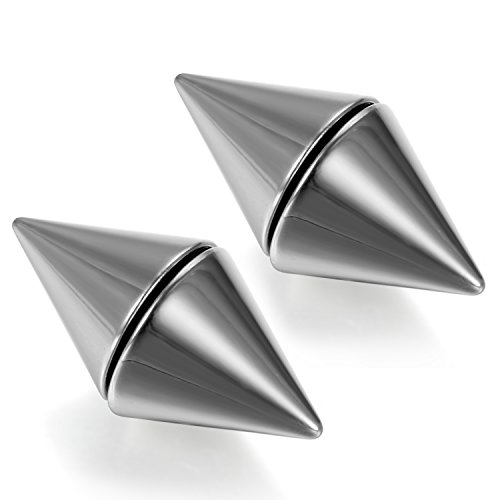 Flongo Men's Punk Stainless Steel Spike Rivet Non-piercing Magnet Stud - Spike Magnetic Earrings