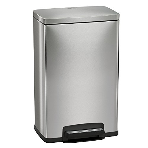 Tramontina 13 Gallon Step Trash Can Stainless Steel Includes 2 Freshener Cartridges (Pedal Trash Can)