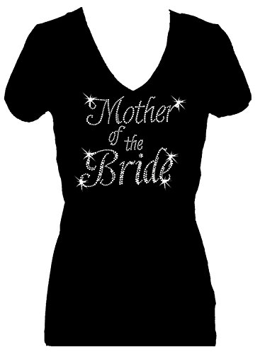 Mother of The Bride Rhinestone Womens V Neck Short Sleeve Tee Shirt (1X) Black