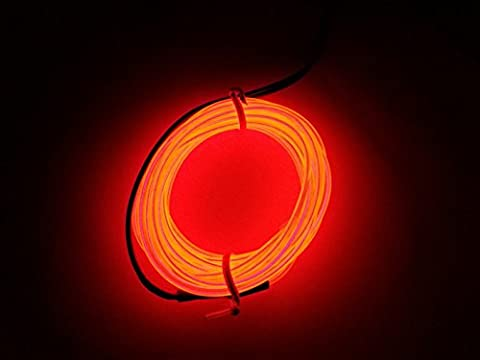 M.best Flexible LED Neon Light Glow EL Wire Rope tape Cable Strip Decoration + Controller (15FT, Red)