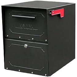 Architectural Mailboxes 6200B-10 Oasis Jr. Locking Post Mount Mailbox, Black