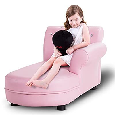 Costzon Kids Sofa, Upholstered Chaise Lounge Armrest Relax Couch, Pink