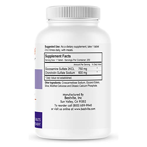 Glucosamine & Chondroitin Sulfate 750/600 Triple Strength (250 Tablets) - Joint Support - No Stearates - Gluten Free