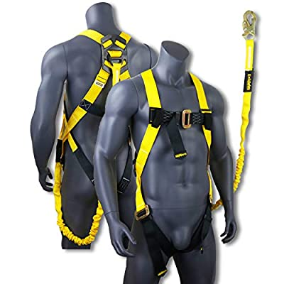KwikSafety OSHA ANSI Fall Protection Safety Harness | Personal Protective Equipment with Attached Internal Shock Absorbing Lanyard | Construction Carpenter Scaffolding