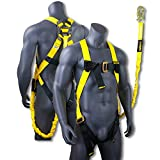 KwikSafety Scorpion   Safety Harness w/Attached 6ft. Tubular Lanyard on Back   OSHA Approved ANSI Compliant Fall Protection   Internal Shock Absorbing Lanyard   Construction Carpenter Scaffolding …