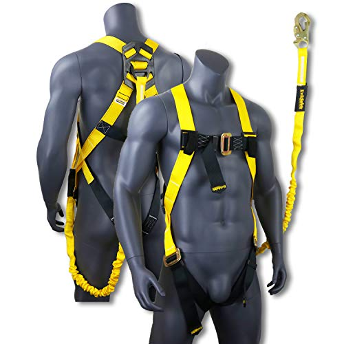 Fall Safe Harness - KwikSafety (Charlotte, NC) SCORPION Safety Harness w/attached 6ft. Tubular Lanyard on back | OSHA ANSI Fall Protection | INTERNAL Shock Absorbing Lanyard | Construction Carpenter Scaffolding