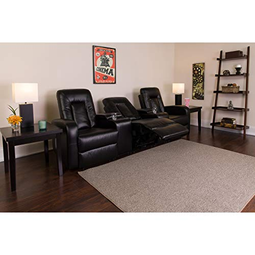 Flash Furniture Eclipse Series 3-Seat Reclining Black Leather Theater Seating Unit with Cup Holders (Movie Seating)