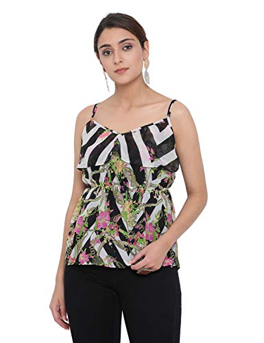 oxolloxo Women #39;s Shoulder Strap Floral Print Top  Black