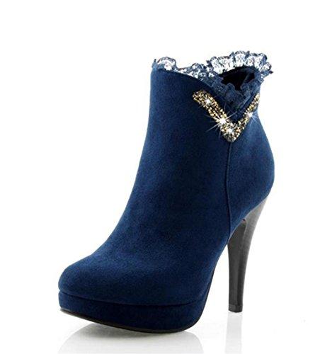 Autumn Ankle Boots Heels Elegant Lace High Women Short HETAO Lace Platform Shoes Up Rhinestones Heel Western Boots Sexy Winter Personality Heel Blue Temperament IwPgcqF