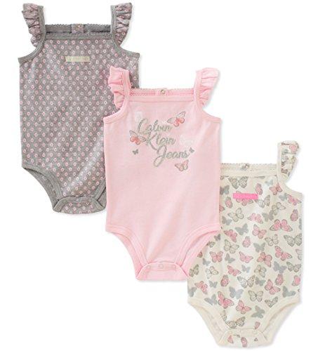 Bodysuit Sleeveless Girls (Calvin Klein Baby Girls 3 Pieces Pack Bodysuits, Pink/Gray/White, 6-9 Months)