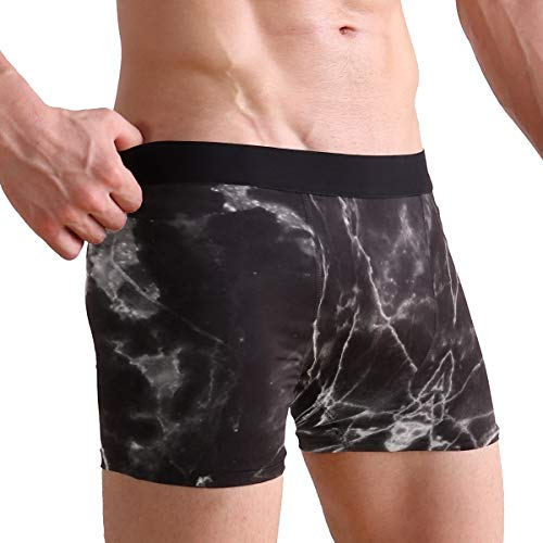 Black Marble Pattern Ultimate Soft Sports-Inspired Microfiber Stretch Boxer Briefs,Breathable Fast Drying Action Boxer Briefs Mens Underwear (Black Marble Action)