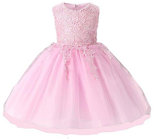 Myosotis510 Girls' Lace Princess Wedding Baptism Dress Long Sleeve Formal Party Wear for Toddler Baby Girl (13-24Months, Sleeveless Pink)