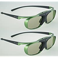 2x Hi-SHOCK Mint Heaven | Dual Play RF/BT Pro 3D glasses for HDR / FullHD / 4k 3DTV | comp. with SSG-3570CR / TDG-BT500A / AN3DG35 / TY-ER3D6ME / FPT-AG04 / AG-S350 / FPS3D08 | rechargeable