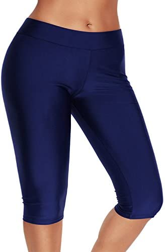 Tomlyws Womens Swim Capris Board Shorts Rash Guard Swimsuit Pants Swimwear M-4XL