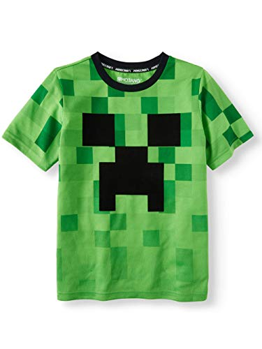 Tee Creeper - Minecraft Shirt Creeper Logo Fade Short Sleeve Licensed Tee (Large (10-12)) Green