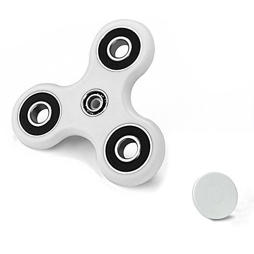 CASOFU Tri-Spinner Fidget Spinner Toy Stress Reducer Ceramic Bearing, Perfect for ADD, ADHD, Anxiety and Autism, Adult Children, White - D