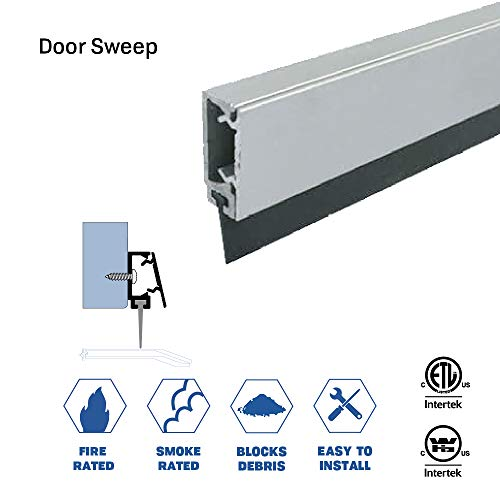Fire Rated/Aluminum Door Bottom Sweep with Snap-on Cover and Solid Rubber Extrusion (7774CA), (36