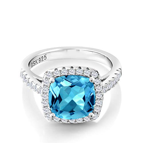 Gem Stone King 925 Sterling Silver Swiss Blue Topaz and White Created Sapphire Women's Ring (2.80 Cttw, Cushion Cut,) (Size 5)