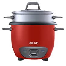 Aroma ARC-747-1NGR 14-Cup, Cooked Rice Cooker and Food Steamer, Red