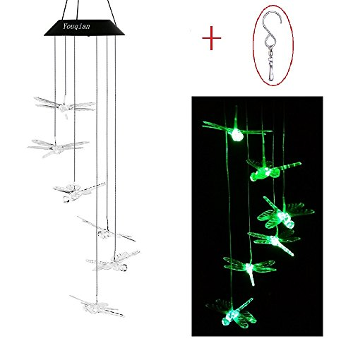 Dragonfly Chimes (Solar Dragonfly Wind Chimes, Youqian Color-changing Moving Rotating Wind Chime Waterproof Automatic Light Sensor Outdoor Decor for Home Party Balcony Porch Patio Garden)