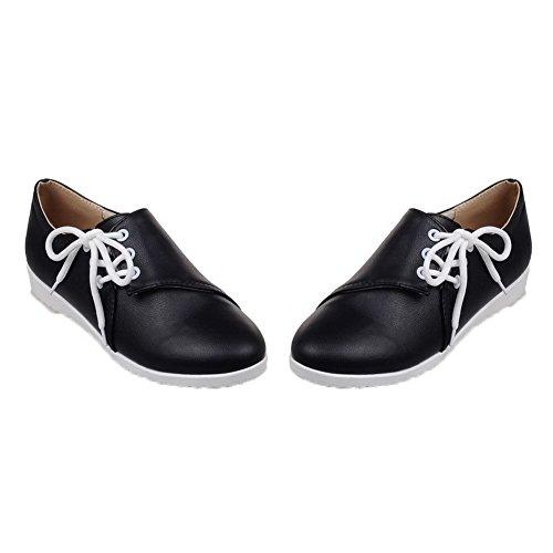 Amoonyfashion Femmes Talons Bas Pu Lacets Solides À Bout Rond Pompes-chaussures Noir