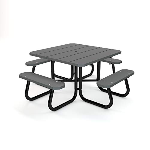 Frog Furnishings Square Picnic Table, 4', Gray