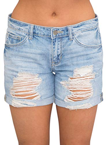 Dokotoo Womens Fashion Female Summer Basic Stretchy Pockets Rolled Cuffs Destroyed Distressed Wash Denim Shorts Jeans Short Pants X-Large