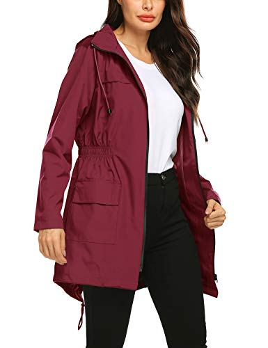 (Avoogue Women Rain Jacket Belted Adjustment Breathable Lined Absolutely Waterproof Spring Rain Slicker Wine Red)