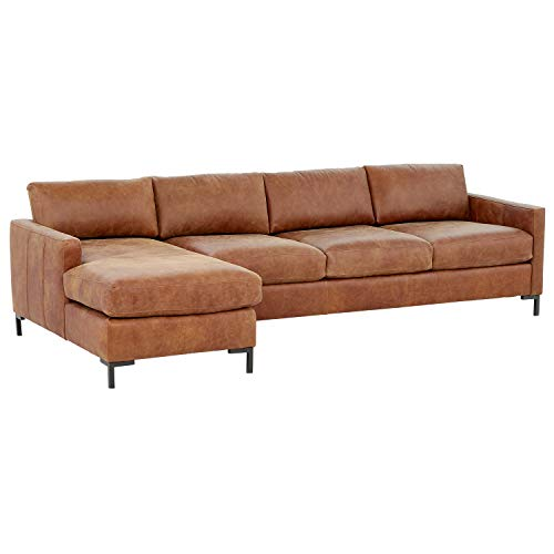 """Rivet Edgewest Modern Left-Facing Sofa Chaise Sectional, Leather, 115""""W, Saddle"""