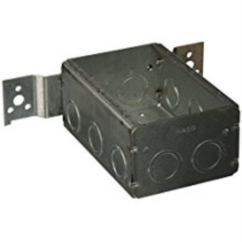 Hubbell-Raco 686 2-1/2-Inch Deep 3 Gang Switch Box, Welded with 1/2-Inch Setback Side Bracket and (10) Concentric (Knockouts (Setback Box)