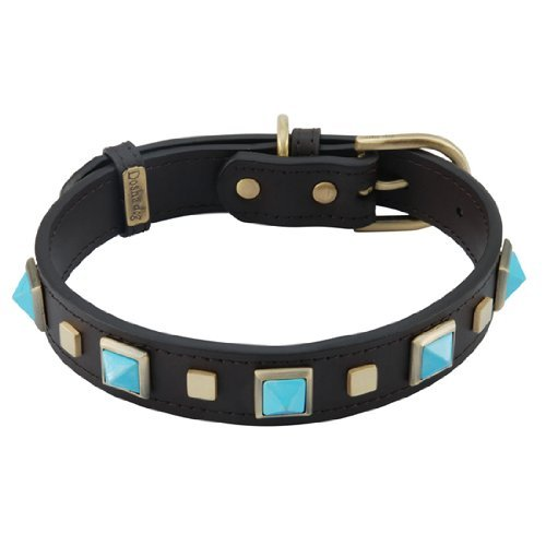 Turquoise Rock & Roll Leather Dog Collar - Extra Large