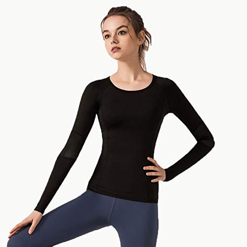 GXTING Yoga Langarm-T-Shirt, Grid Fitness Yoga Langarm-Wickel-Langarm-T-Shirt Mit Schmalem Rundhalsausschnitt Und Daumenloch,Black,M