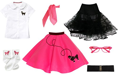 Hip Hop 50s Shop 7 Piece Child Poodle Skirt Outfit, Size 6 Hot Pink]()
