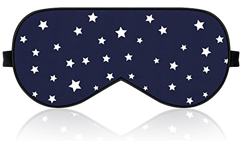 Lonfrote Stars Natural Silk Sleep Mask, Smooth Blindfold with Carry Pouch for Travel, Relax, Shift Workers, Super Soft Fabric - Silk Buckle