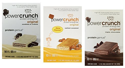 Power Crunch Protein Energy Bar Variety Pack, 15 bars - 1.4oz (40g) bars, Triple Chocolate / Salted Caramel / Cookies & Creme