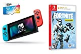 Nintendo Switch Battle Royale Fortnite Starter Bundle: 1000 V-Bucks, Frostbite Skin, Deep Freeze Set, Nintendo Switch 32GB Gaming Console with Neon Red and Blue Joy-Con and Extra 128GB SD Card