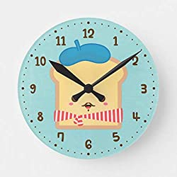 Aet3thew Cute French Toast Pun Humor Room Decor Wooden Wall Clock Round Silent Home Decor Gift for Kitchen, Living Room, Bedroom 12 inch