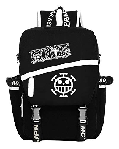 Gumstyle One Piece Anime Cosplay Luminous Laptop Backpack Rucksack Schoolbag Book Bag Unisex Student Black - Wallet Manga