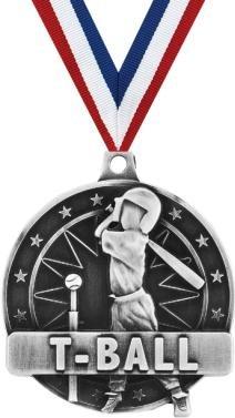 クラウンAwardsティーボールメダル – シルバー子供野球Medals withネックリボン B07FNWCHZP 100