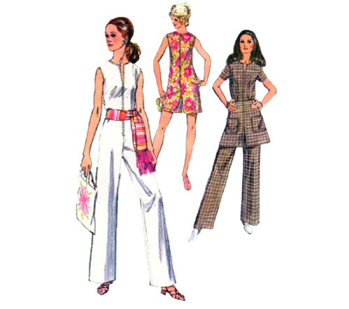 (Vintage 70s Misses Mod Sewing Pattern Jumpsuit Mini Skirt Tunic Pants Simplicity 8745 Check Offers for Size)