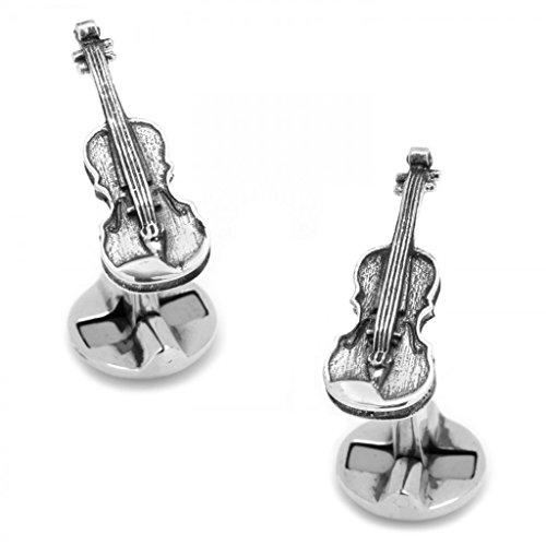 - Sterling Silver Violin Musical Instrument Cufflinks