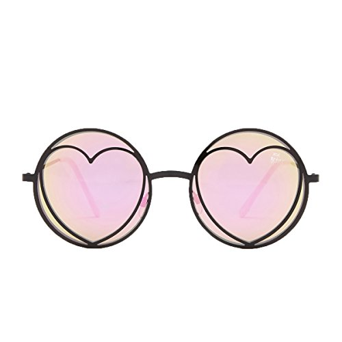 Betsey Johnson Women's Heart Lennon Round Aviator Sunglasses, - Betsey Sunglasses Aviator Johnson