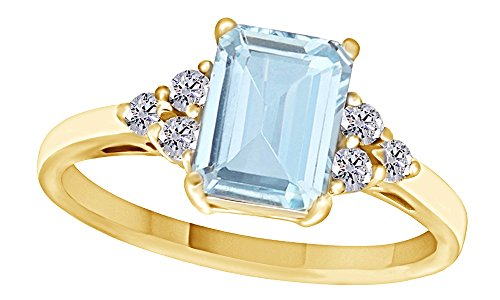 Jewel Zone US Simulated Blue Aquamarine & White Topaz CZ Fashion Ring in 14k Gold Over Sterling Silver (1.67 Cttw)