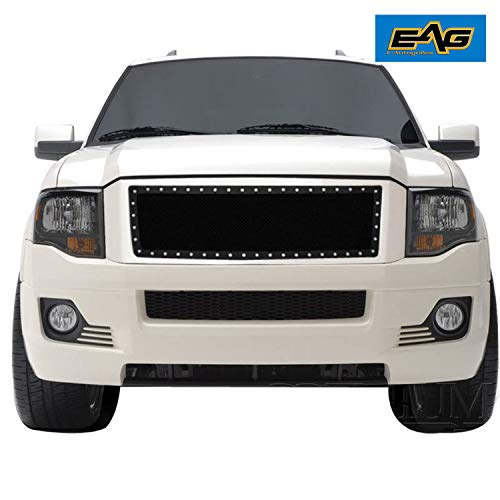 EAG Rivet Black Stainless Steel Wire Mesh Grill Fit for 07-14 Ford - Expedition Ford Guard Grille