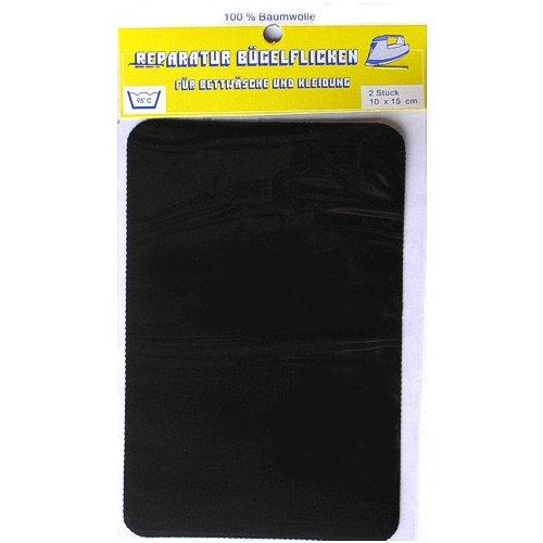 2er Pack Reparatur Bügelflicken schwarz 100% BW, Aufbügler Textil Stoff Flicken, 0986