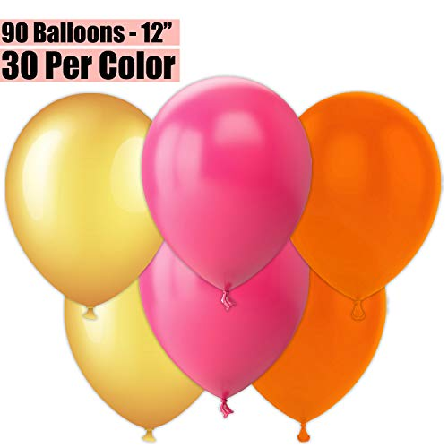 Orange And Pink Balloons (12 Inch Party Balloons, 90 Count - Metallic Gold + Fuchsia + Orange - 30 Per Color. Helium Quality Bulk Latex Balloons In 3 Assorted Colors - For Birthdays, Holidays,)